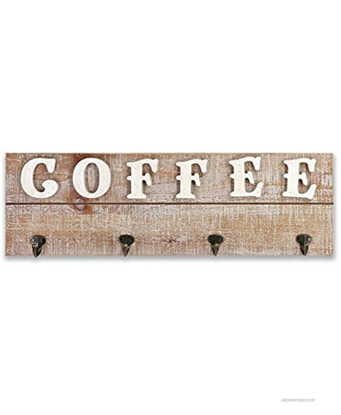 "Rustic Wood Coffee Hanging Mug Holder,Wall Mounted Coffee Cup Organizer Rack,Rustic Farmhouse Wood Coffee Sign for Kitchen,Coffee Bar,24"" x 7.5"""