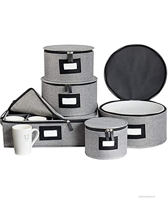 China Storage Containers Box Set for Dinnerware,Hard Shell and Stackable Dishes Mugs Storage with Lable Window for Saucers Dinner and Salad Plates Protects,48Pcs Felt Plate Dividers Included,Set of 5-Grey