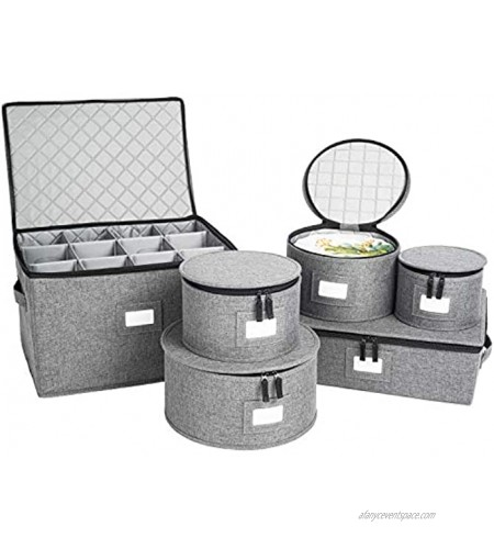 China Storage Set Hard Shell and Stackable for Dinnerware Storage and Transport Protects Dishes Cups and Wine Glasses Felt Plate Dividers Included Grey Stemware Storage Included