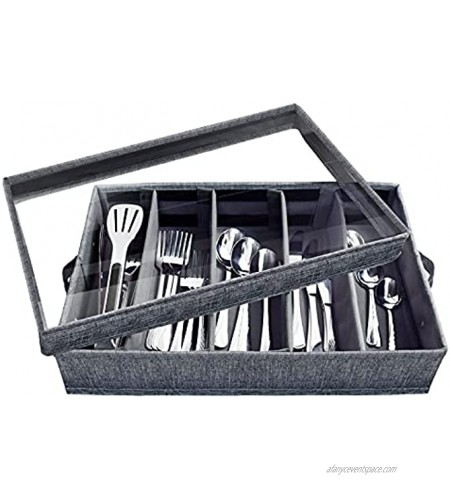 Flatware Storage Case 5 Compartment Tableware Cutlery Container Chest with Removable PVC Lid and Easy to Carry Handles,Large Capacity Utensils,Silverware,Flatware BoxDark Grey