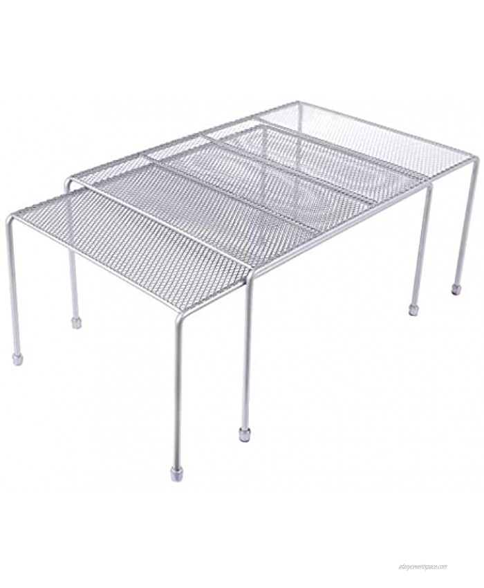 Expandable Stackable Kitchen Cabinet and Counter Shelf Organizer,Kitchen Shelves Cabinet Organization,Silver