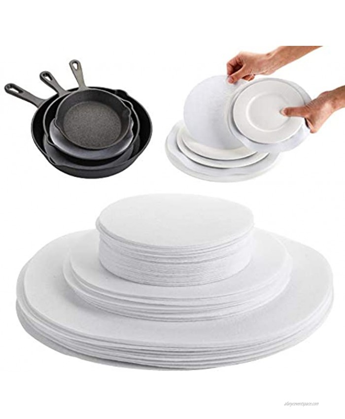 Jucoan 80 Pack Thick Felt Plate Dividers 3 Sizes Round China Dish Storage Protectors Pads for Packing Stacking Procelain Cookware
