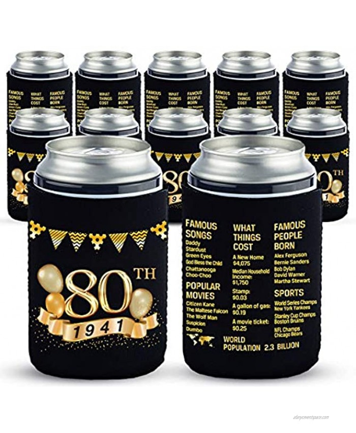 Yangmics 80th Birthday Can Cooler Sleeves Pack of 12-1941 Sign -80th Anniversary Decorations Dirty 80th Birthday Party Supplies Black and Gold Eightieth Birthday Cup Coolers