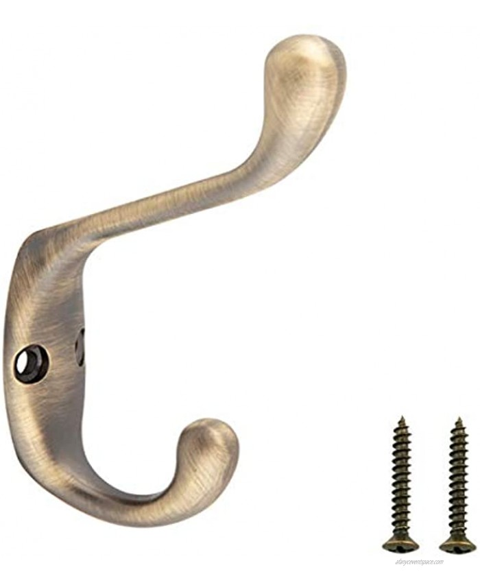Basics Wall Mounted Contemporary Metal Dual Coat Hooks Antique Brass 5-Pack