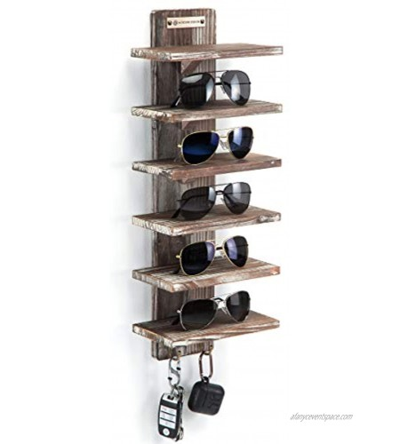 J JACKCUBE DESIGN Rustic Wood Wall Mount Sunglasses Organizer 6 Tiers Rack with 2 Hooks Glasses Storage Box Display Cabinet for Jewelry Watches Key Multiple Case MK551A Rustic Wood