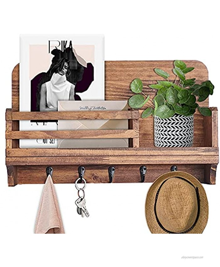 Rustic Wooden Storage Mail Holder with 5 Key Hooks Decorative Key Hanger for Wall Floating Shelf Organizer for Entryway Bedroom Living Room Kitchen-16x10