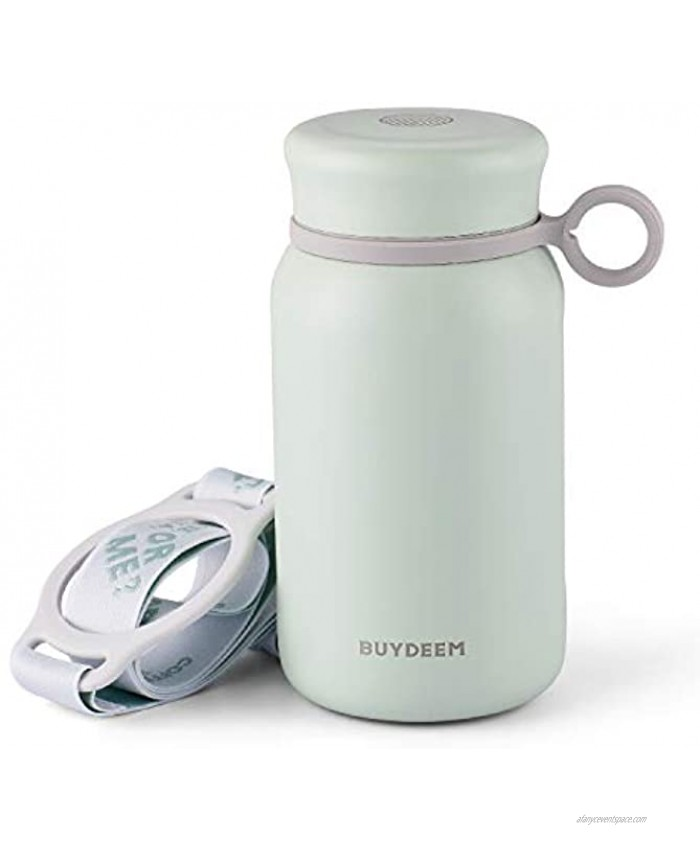 Born for Girls & Ladies Buydeem CD13 Thermos Water Bottle Tumbler Flask Cute Unique Design Wide Mouth with Screw-on Lid Stainless Steel Coffee Tea Travel Mug Cozy Greenish