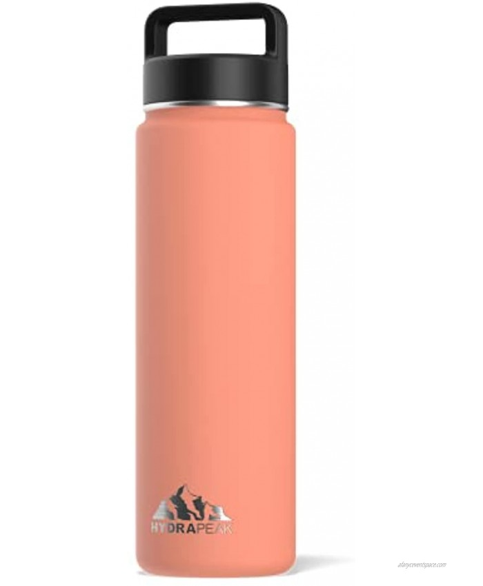 Hydrapeak Vacuum Insulated Water Bottle Stainless Steel Wide Mouth Double Walled Thermos with Handle Lid For Sports & Outdoor 24oz Peach