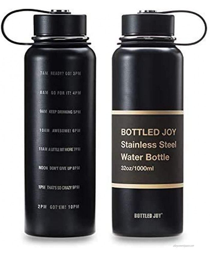 JOYSHAKER 32oz Stainless Steel Water Bottle with Motivational Time Marked 1L Wide Mouth Travel Mug Double-wall Vacuum Insulated Water Bottle BPA-free Thermo Mug