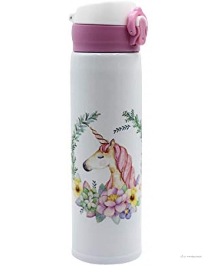 leomoste Unicorn Pattern Water Bottle Stainless Steel Mug Vacuum Insulated Mug for Women Kids Girls,17 Ounce