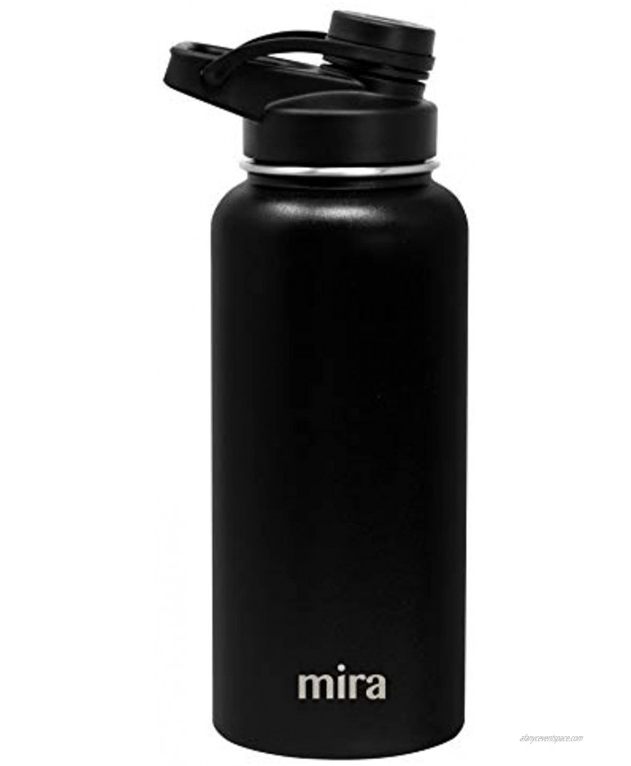 MIRA Stainless Steel Insulated Sports Water Bottle Hydro Metal Thermos Flask Keeps Cold for 24 Hours Hot for 12 Hours BPA-Free Spout Lid Cap 32 oz 960 ml 1 qt Black