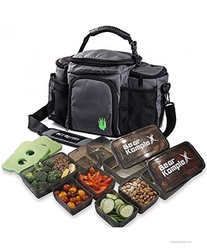 Bear KompleX Insulated Meal Prep Management Lunch Bag 6 Compartment Lunch Box Cooler Tote with 3 Microwave Dishwasher Safe Portion Control Containers Reusable Ice Pack Free Recipe E-Book Included