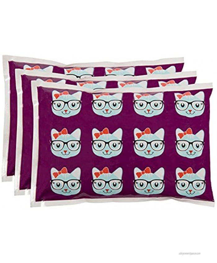 Bentology Kids Ice Packs for Lunch Boxes 3 Reusable Packs Keeps Food Cold in Lunchboxes & Coolers Non-Toxic Safe Durable Kitty