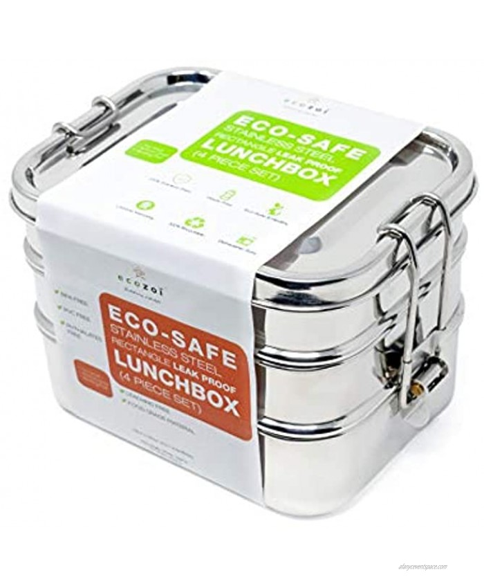 ecozoi Stainless Steel Lunch Box Leak Proof 3 Tier Rectangle with Bonus Pod | Bonus Silicone Band to Convert to Singe Tier Lunch Box for Portability