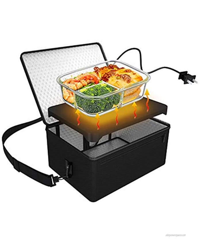 Portable Oven 110V Portable Food Warmer Personal Portable Oven Mini Electric Heated Lunch Box for Reheating & Raw Food Cooking in Office Travel Potlucks and Home Kitchen Black
