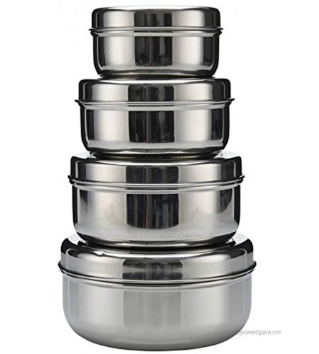 18 8 Stainless Steel pack set of 4 nesting Lunch Box and food storage container set Eco friendly Dishwasher Safe BPA free Great for snacks food storage or leftovers 300cc 475cc 710cc 887cc