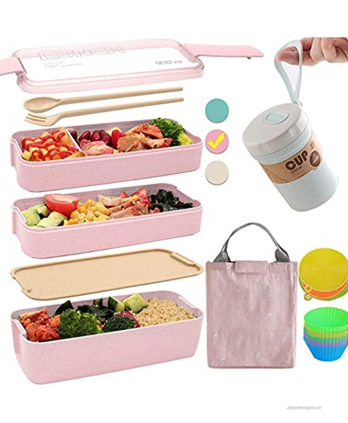 Bento Box Japanese Lunch Box Kit 11 PCS 3-In-1 Compartment Leak-proof Bento Lunch Box Meal Prep Containers with Utensils Bento Boxes for Adults Kids Pink