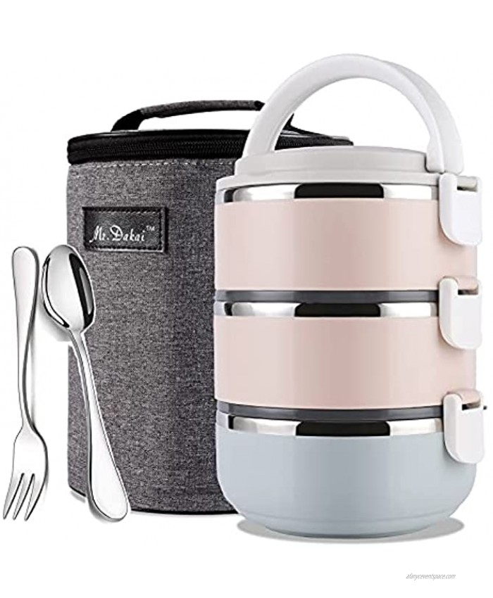 Mr.Dakai Upgrade Leak-Proof Bento Box Adult Lunch Box with Insulated Bag Spoon Fork 3-Tier Stainless Steel Stackable Thermal Food Container for On-the-Go Meal and Snack Packing Rainbow Round