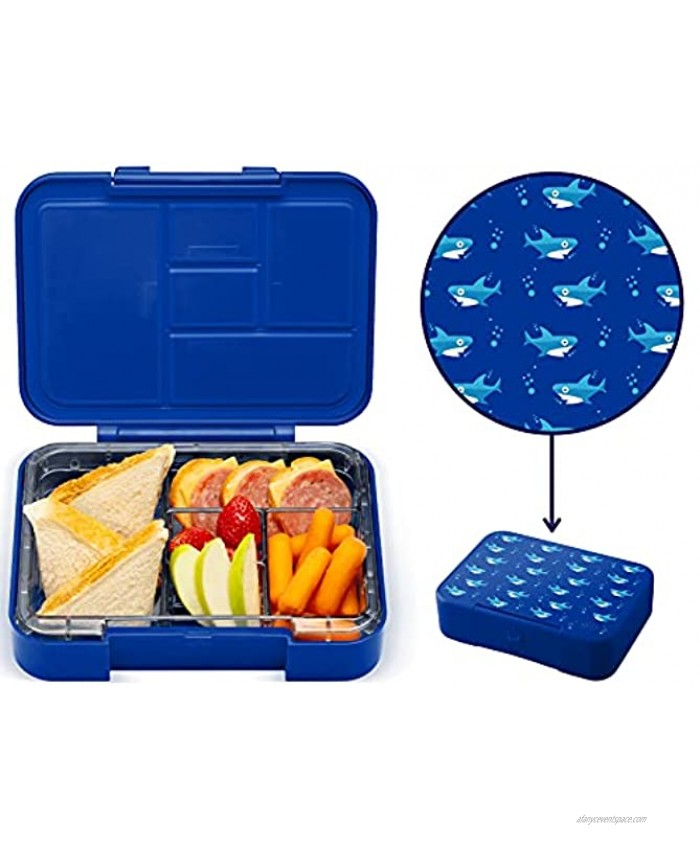 Simple Modern Porter Kids Bento Box for Girls Boys Toddlers BPA-Free Leakproof Lunch Container with 5 Compartments 30oz Shark Bite