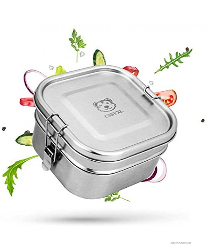 Stainless Steel Bento Lunch Box 47oz 1400ml Metal Square Lunch Container for Kids Boys School 2 Tier Food Containers for Men Leakproof Tiffin Box Adults Layered Lunchbox With Clip Locks Stainless Lid