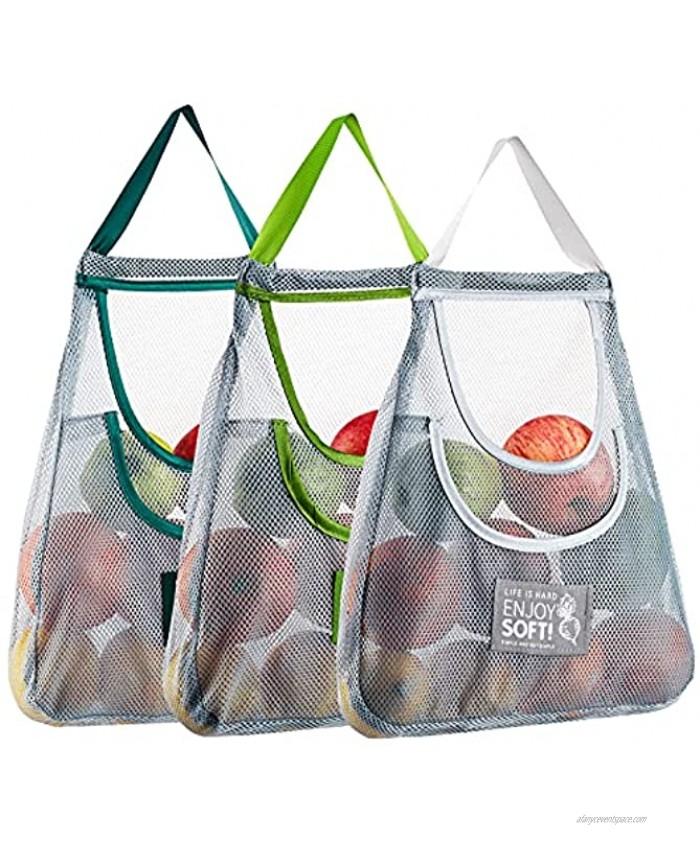3PCS Reusable Mesh Bag Portable Produce Bags Washable Hanging Storage Bags Organizer Shopping Handbag for Fruit Garlics Onions Potatoes