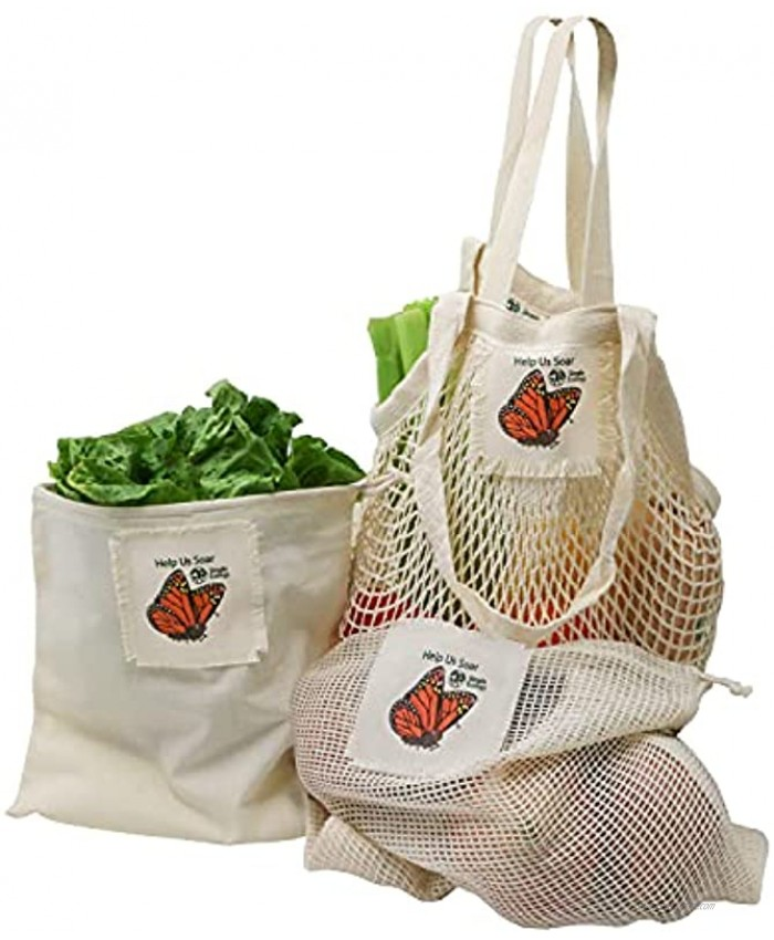 Help Us Soar Simple Ecology Organic Cotton Reusable Monarch Butterfly Gift & Starter Set string produce saver bags food storage bulk bin with tare weight tag and drawstring waste free