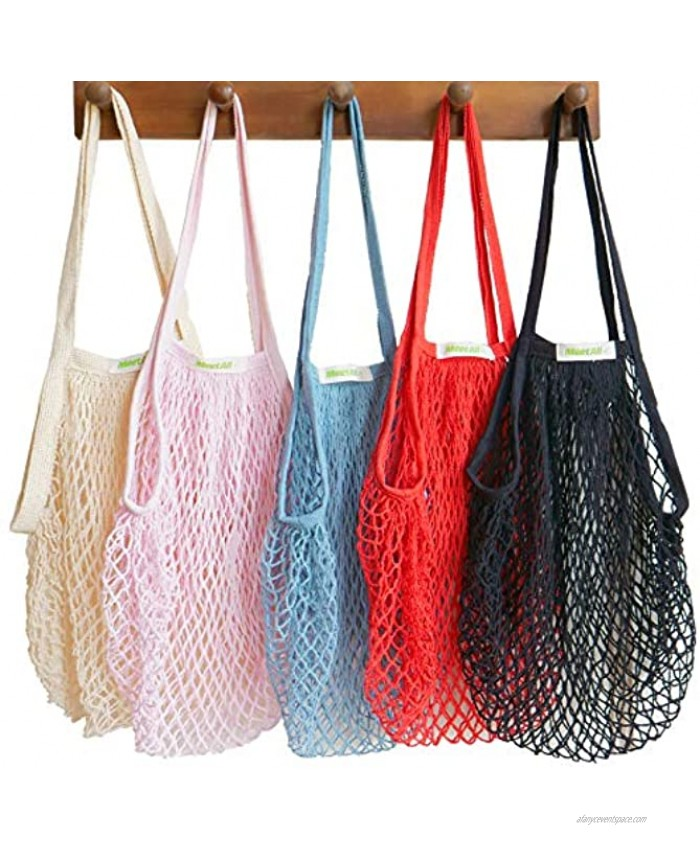 Meetall 5 Colors Pack Reusable Mesh Grocery Bags Net Produce Bags Cotton String Chic Tote Shopping Bags Portable Shoulder Bags with Sturdy and Long Handle 15x14x10 inch 38x35x25cm 100% Cotton 5 Colors Mixed Off White Pink Red Blue and Black