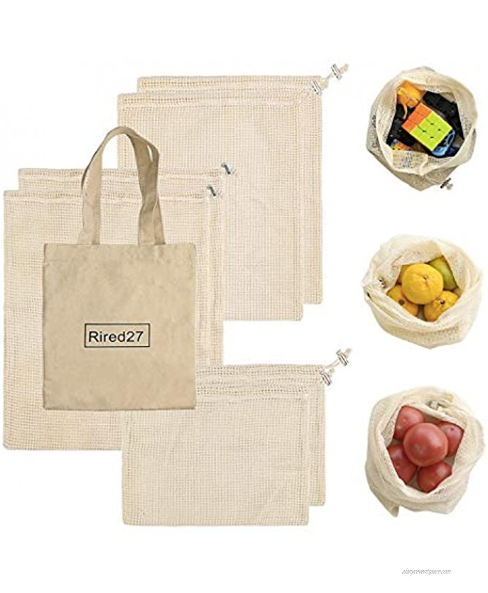 Reusable Produce Bags Washable Muslin bags-Total 6 Piece Large Medium & Small Organic Cotton Mesh Bags for Shopping Storing Vegetables Fruits Bread and Grocery