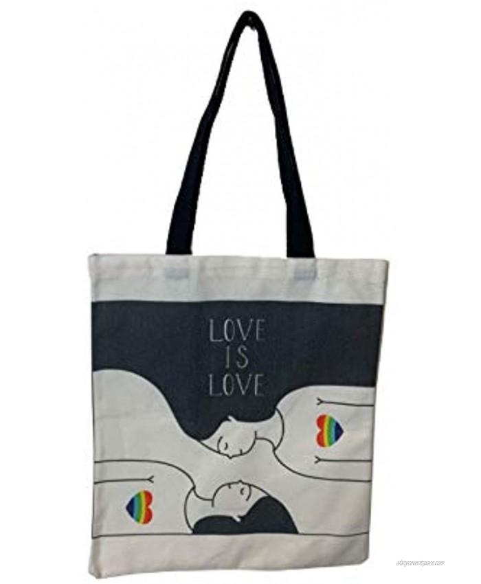 ShopMi LGBT Rainbow Pride Together LGBTQ+ Coming Out Gay Lesbian illustration Canvas Bag Graphic Fashion Tote Bag