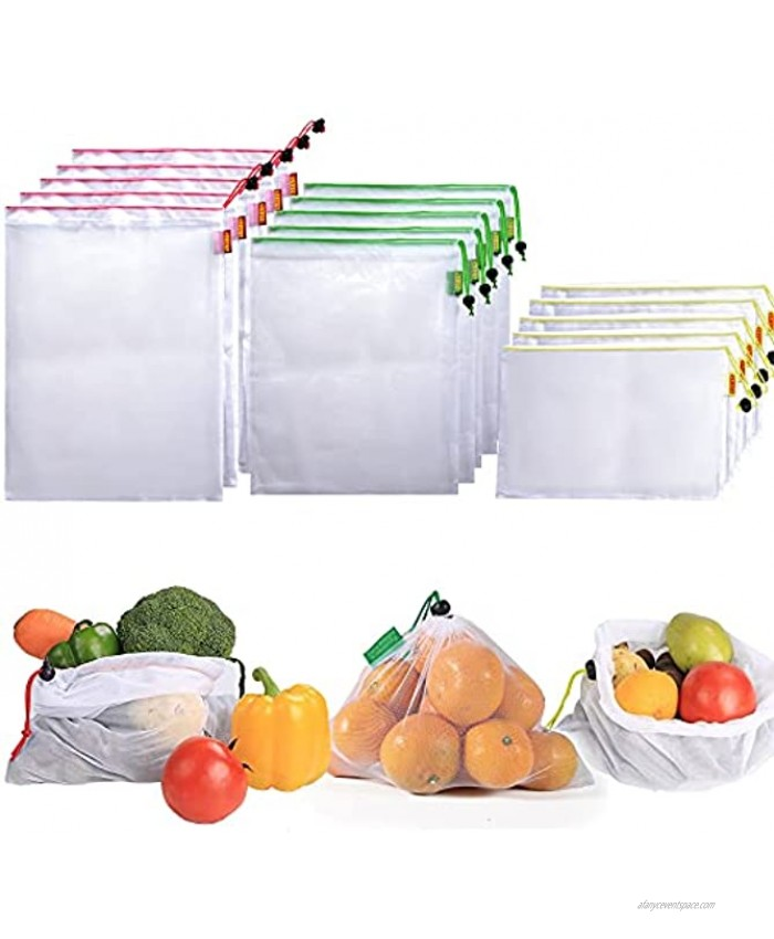 SZ1976 15 Pack Reusable Produce Mesh Bags for Grocery Shopping,Vegetable,Fruits,3 Sizes Washable Produce Bags,Colorful Drawstring Tare Weight Tags,5 Large 5 Medium & 5 Small,White